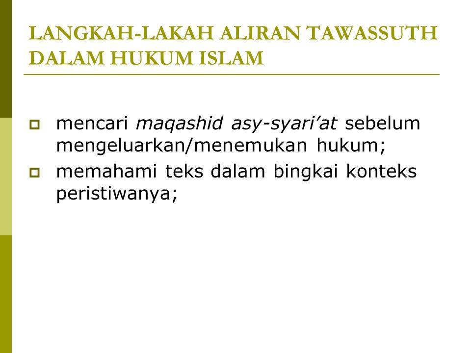 LANGKAH-LAKAH ALIRAN TAWASSUTH DALAM HUKUM ISLAM