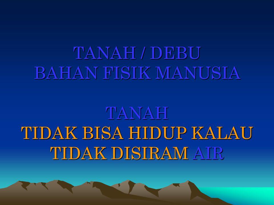 TANAH / DEBU BAHAN FISIK MANUSIA TANAH TIDAK BISA HIDUP KALAU TIDAK DISIRAM AIR