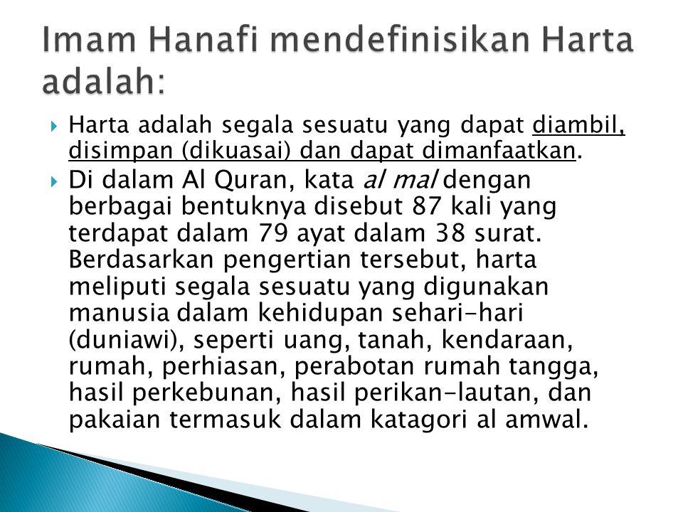 Imam Hanafi mendefinisikan Harta adalah: