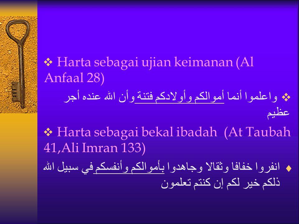 Harta sebagai ujian keimanan (Al Anfaal 28)