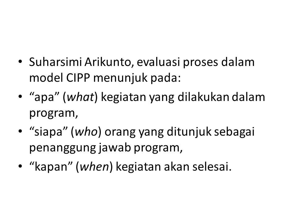 Suharsimi Arikunto, evaluasi proses dalam model CIPP menunjuk pada: