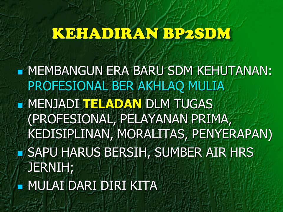 KEHADIRAN BP2SDM MEMBANGUN ERA BARU SDM KEHUTANAN: PROFESIONAL BER AKHLAQ MULIA.