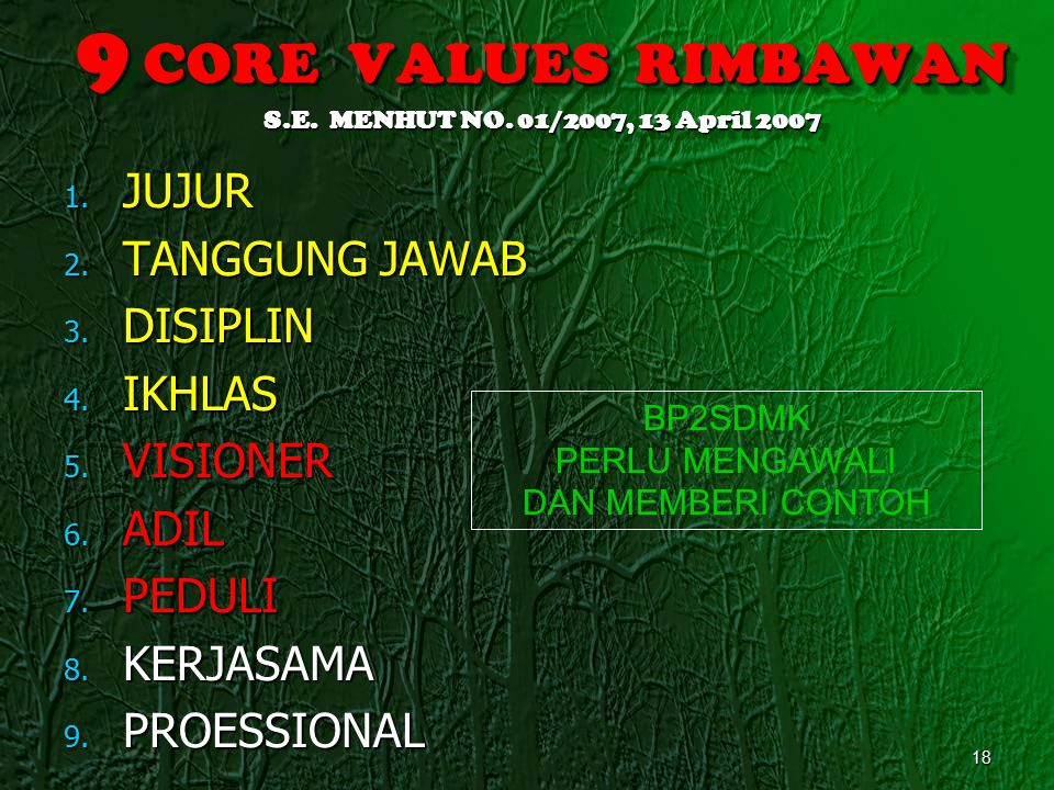 9 CORE VALUES RIMBAWAN S.E. MENHUT NO. 01/2007, 13 April 2007