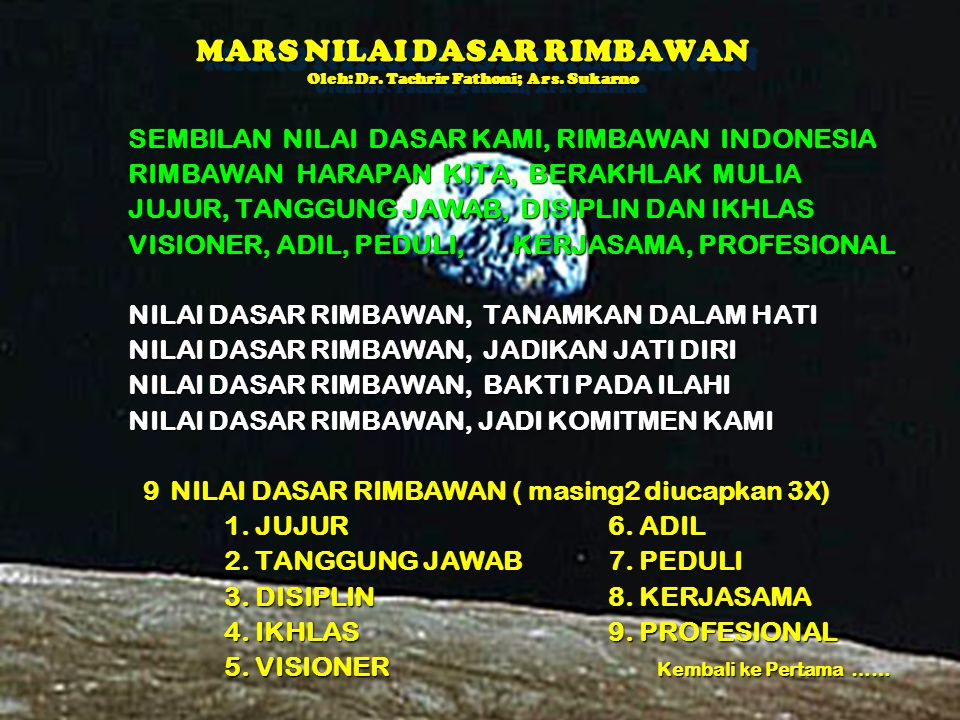 MARS NILAI DASAR RIMBAWAN Oleh: Dr. Tachrir Fathoni; Ars. Sukarno