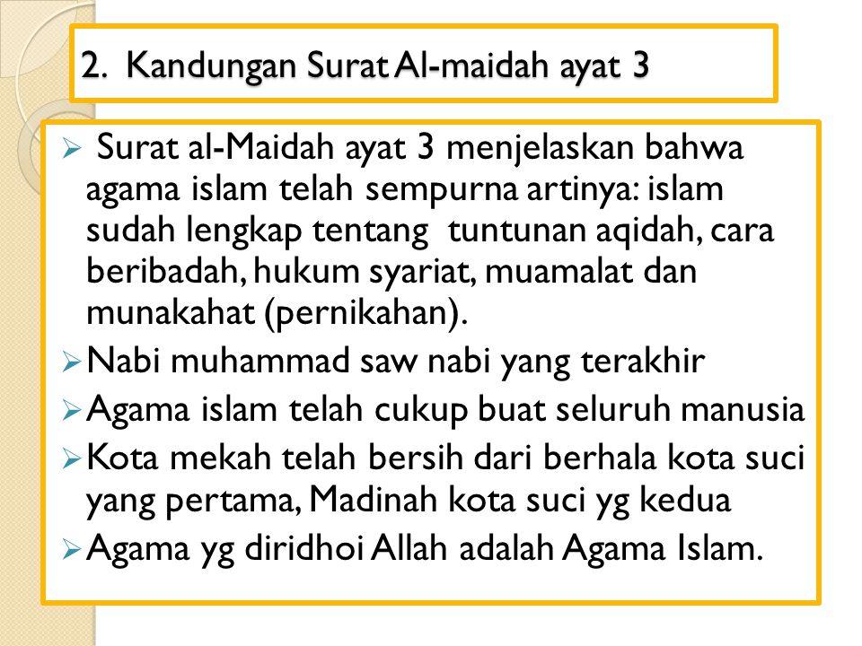 2. Kandungan Surat Al-maidah ayat 3