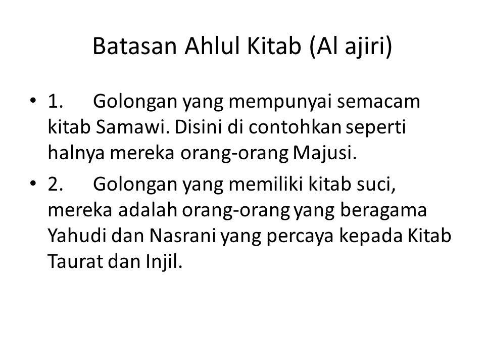Batasan Ahlul Kitab (Al ajiri)