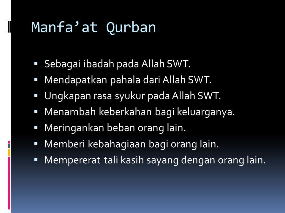 Manfa'at Qurban Sebagai ibadah pada Allah SWT.