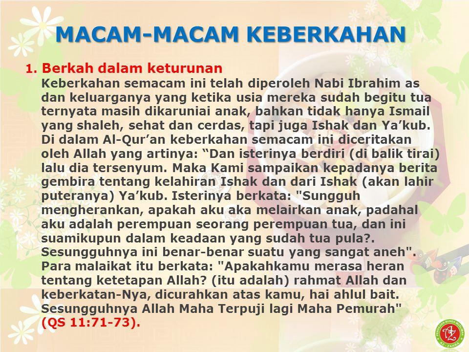 MACAM-MACAM KEBERKAHAN