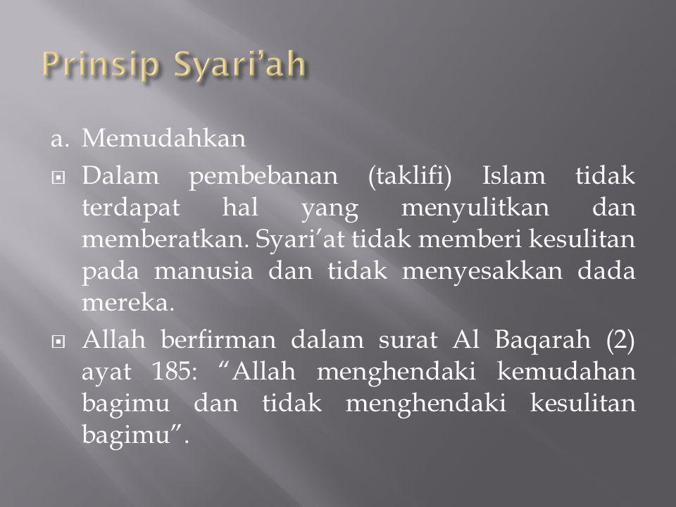 Prinsip Syari'ah a. Memudahkan