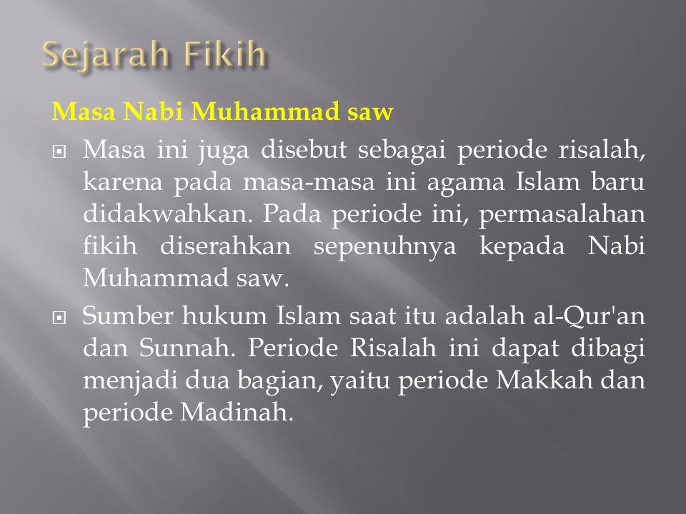 Sejarah Fikih Masa Nabi Muhammad saw