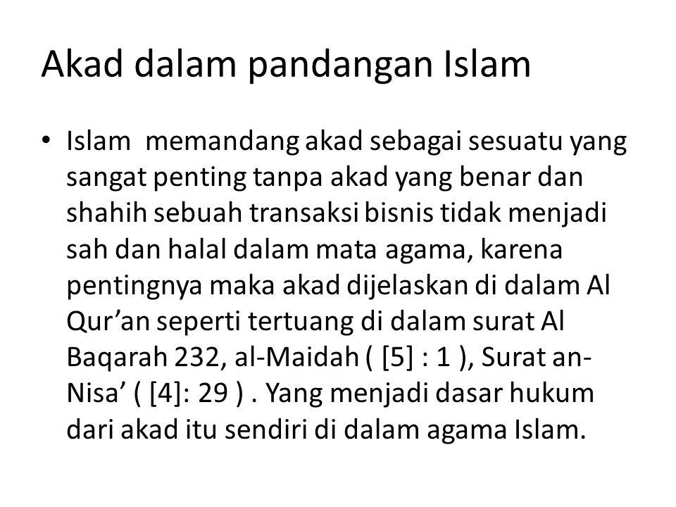 Akad dalam pandangan Islam