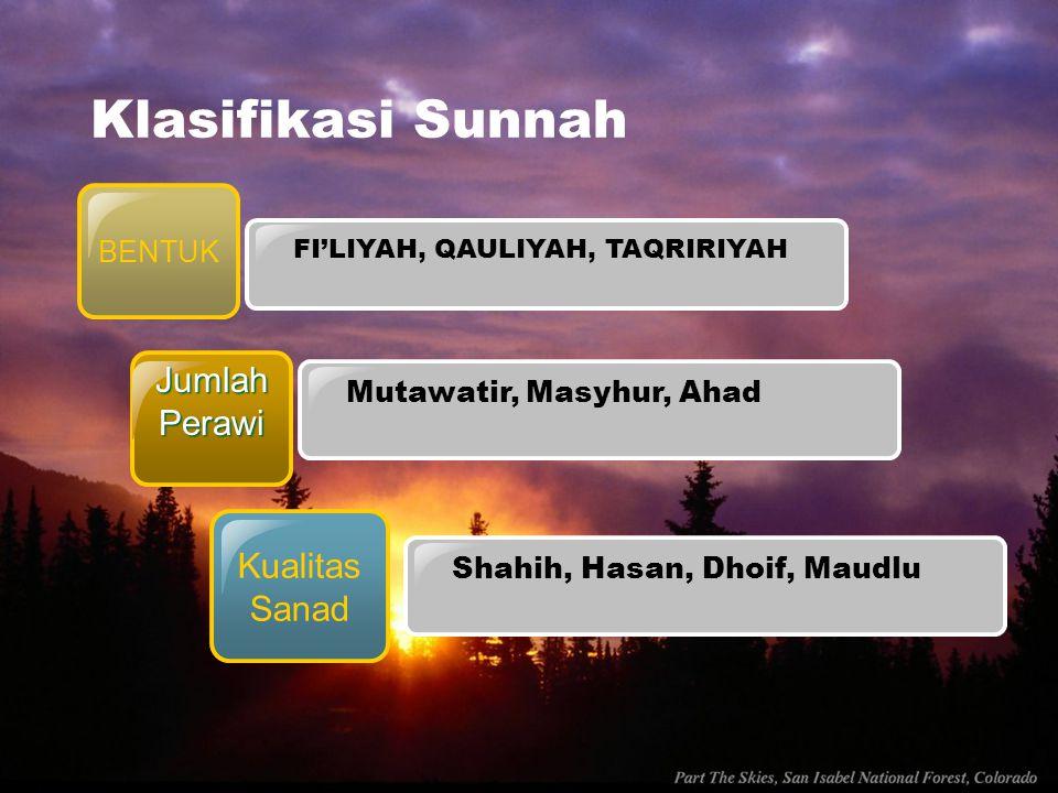 Klasifikasi Sunnah Jumlah Perawi Kualitas Sanad BENTUK