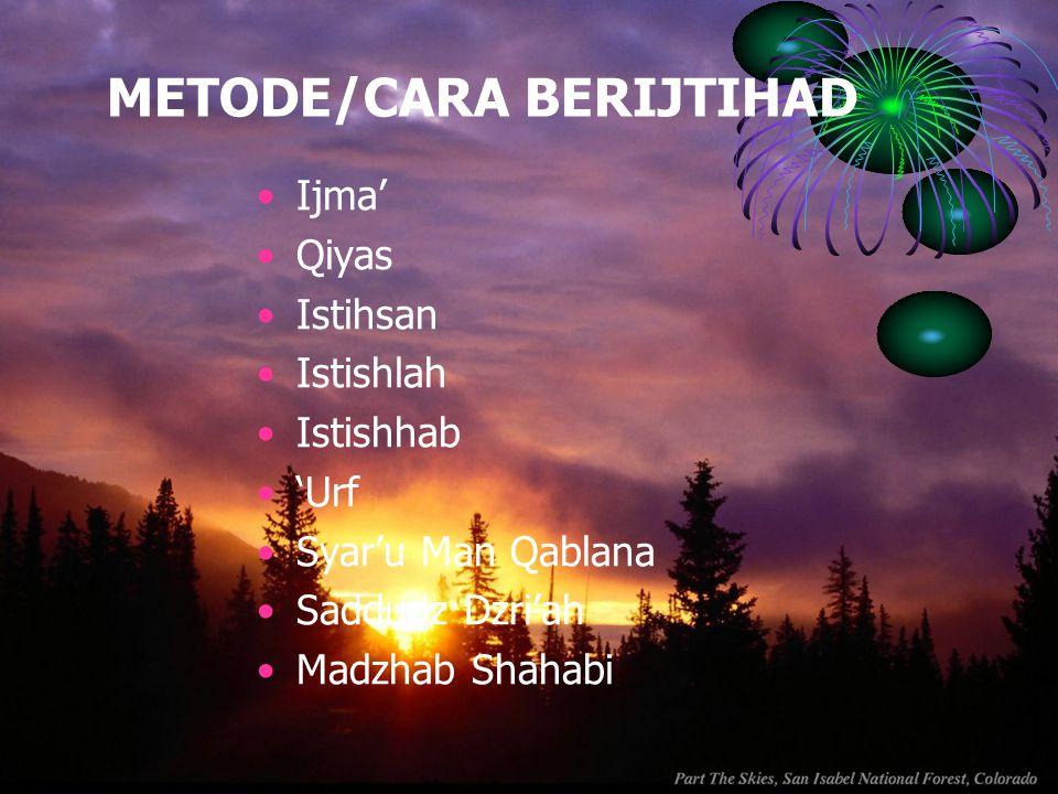 METODE/CARA BERIJTIHAD