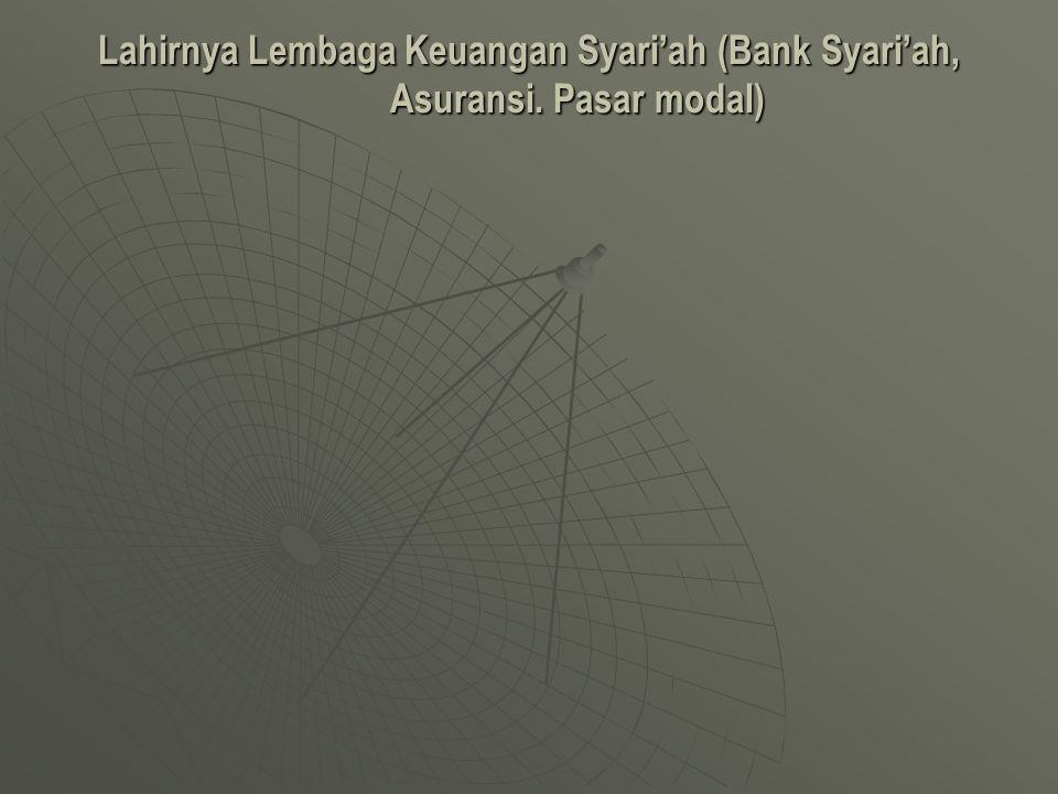 Lahirnya Lembaga Keuangan Syari'ah (Bank Syari'ah, Asuransi