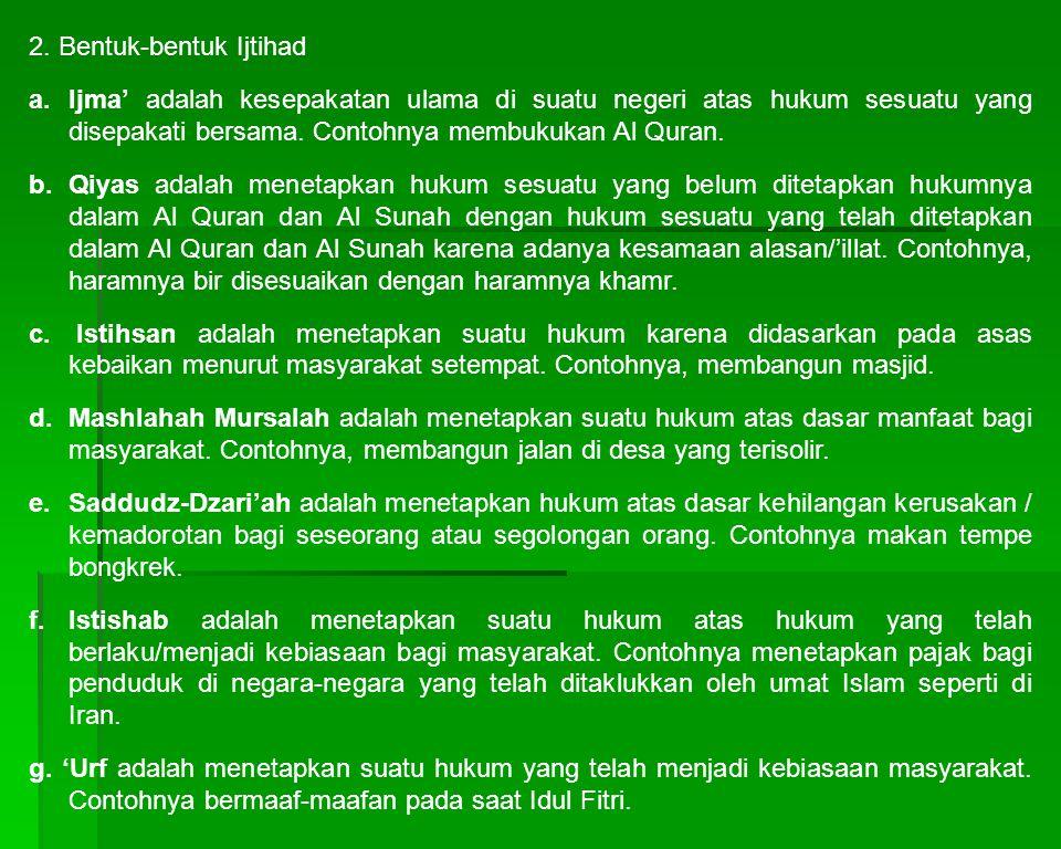 2. Bentuk-bentuk Ijtihad