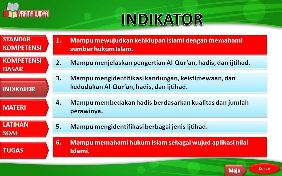 INDIKATOR 1. Mampu mewujudkan kehidupan Islami dengan memahami sumber hukum Islam. 2. Mampu menjelaskan pengertian Al-Qur'an, hadis, dan ijtihad.
