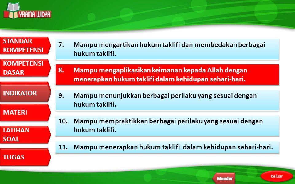 11. Mampu menerapkan hukum taklifi dalam kehidupan sehari-hari.