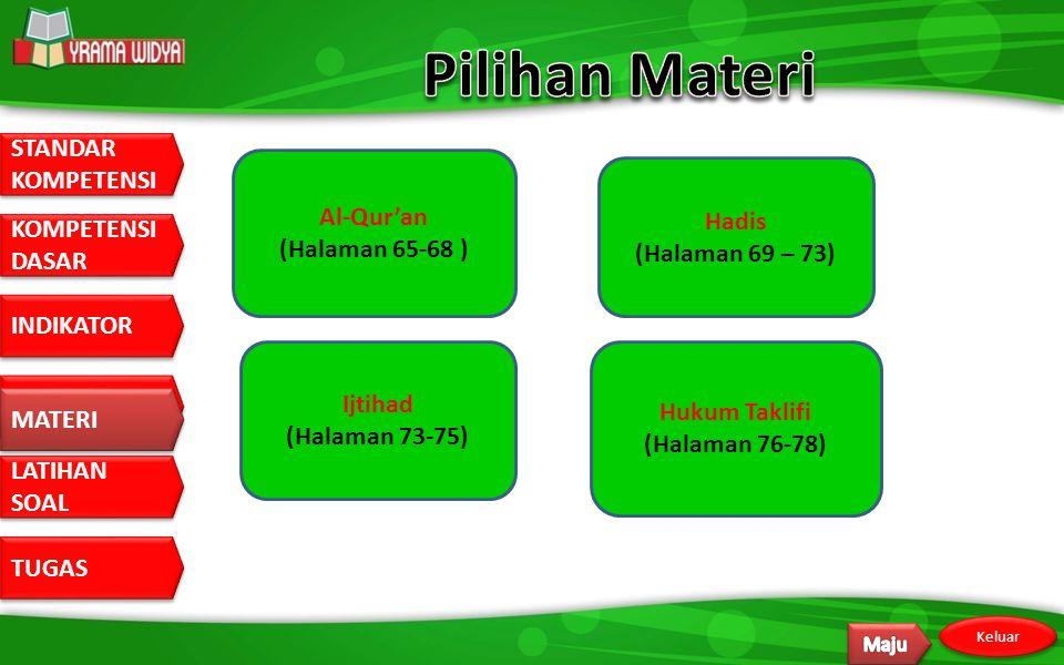 Pilihan Materi Al-Qur'an Hadis (Halaman 65-68 ) (Halaman 69 – 73)