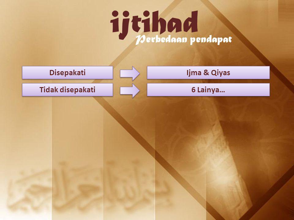 ijtihad Perbedaan pendapat Disepakati Ijma & Qiyas Tidak disepakati