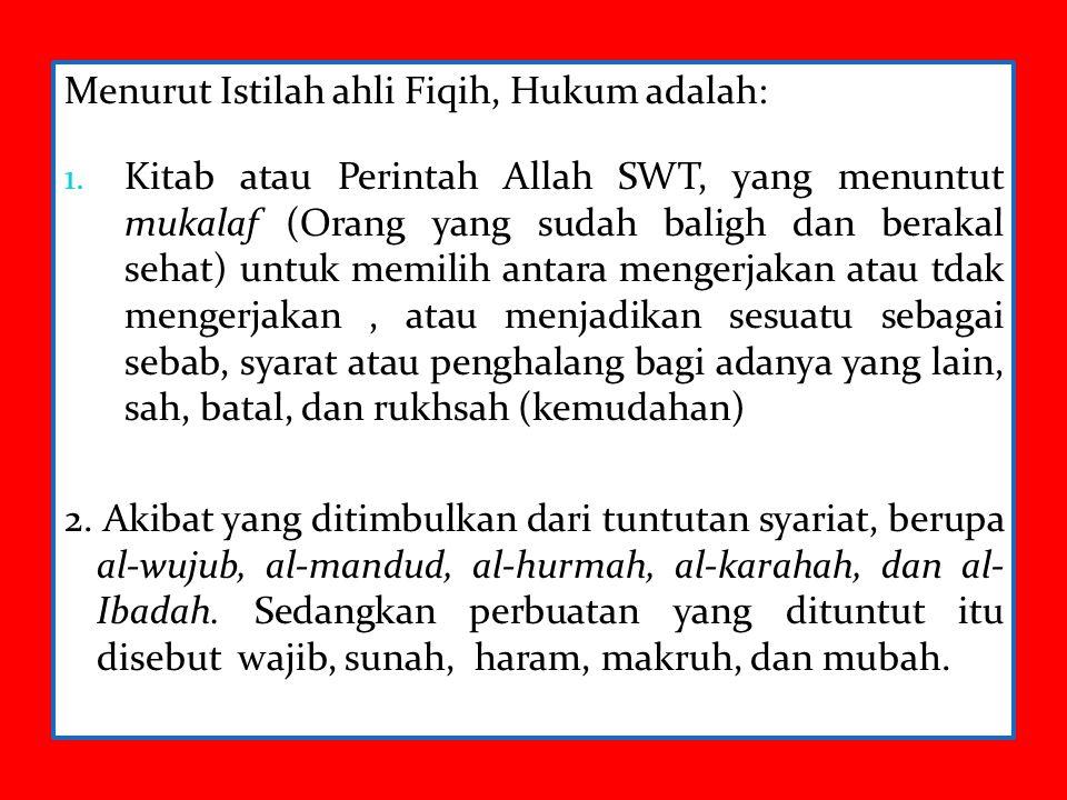 Menurut Istilah ahli Fiqih, Hukum adalah: