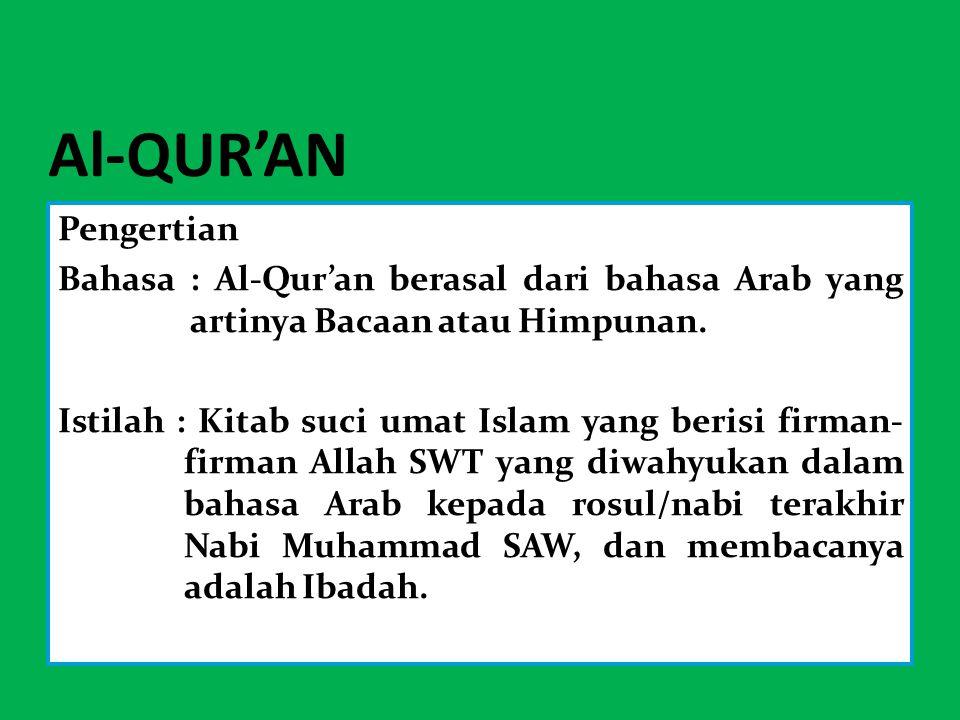 Al-QUR'AN Pengertian. Bahasa : Al-Qur'an berasal dari bahasa Arab yang artinya Bacaan atau Himpunan.