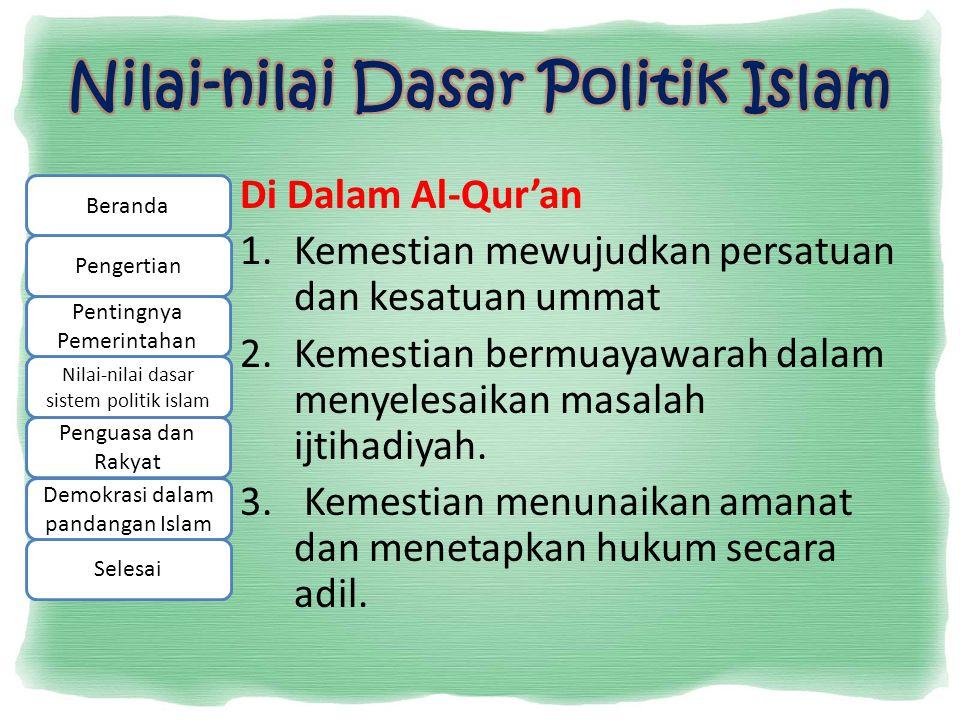 Nilai-nilai Dasar Politik Islam
