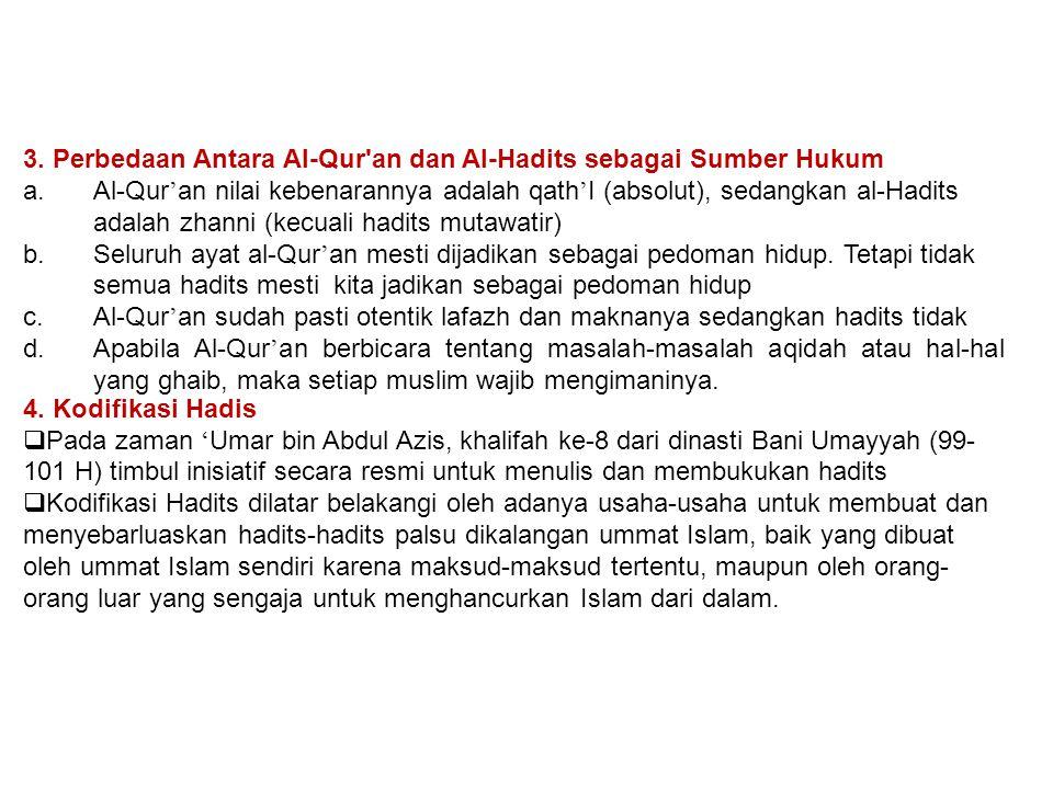 3. Perbedaan Antara Al-Qur an dan Al-Hadits sebagai Sumber Hukum