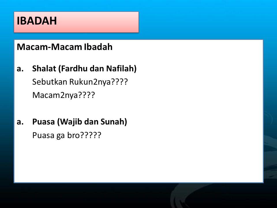 IBADAH Macam-Macam Ibadah Shalat (Fardhu dan Nafilah)