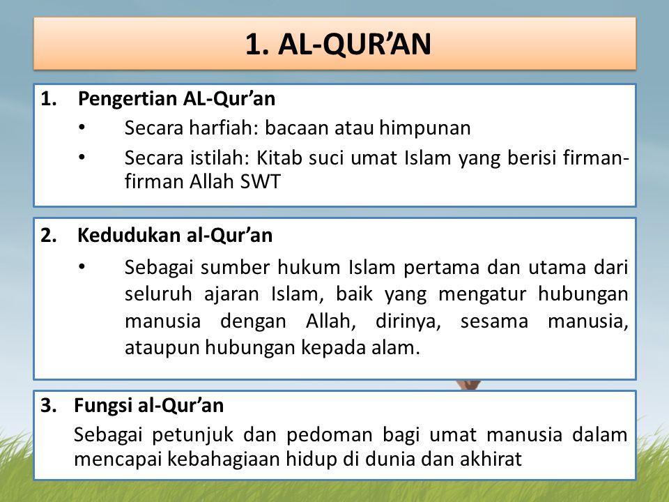 1. AL-QUR'AN Pengertian AL-Qur'an Secara harfiah: bacaan atau himpunan