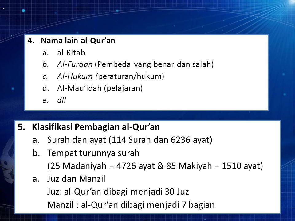 5. Klasifikasi Pembagian al-Qur'an