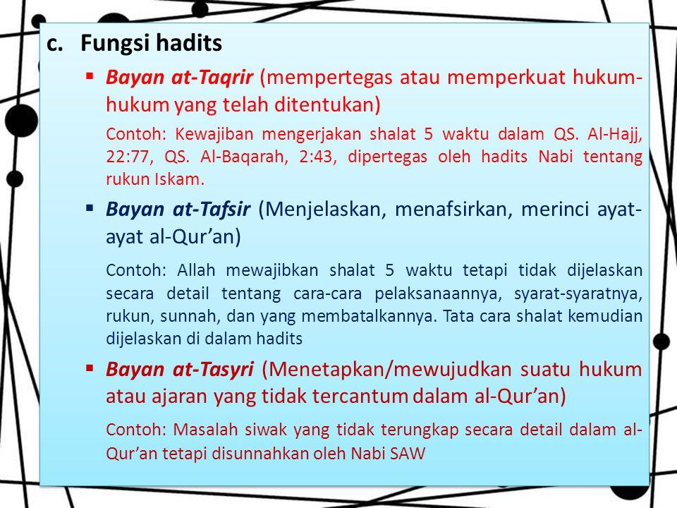Fungsi hadits Bayan at-Taqrir (mempertegas atau memperkuat hukum-hukum yang telah ditentukan)