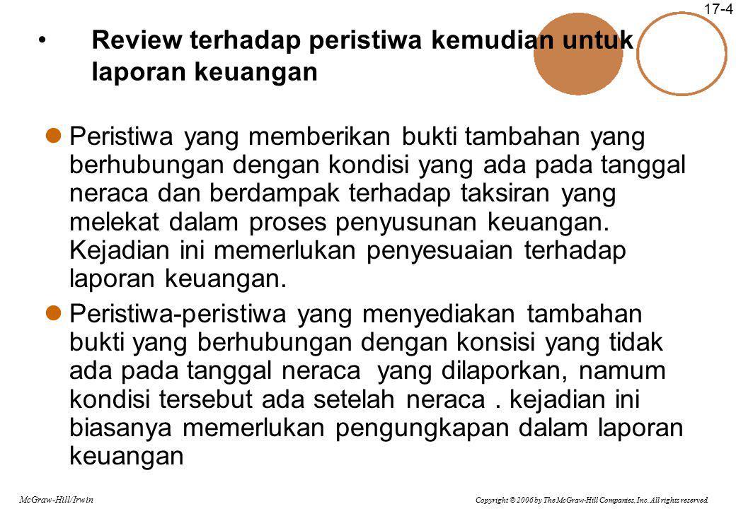 Review terhadap peristiwa kemudian untuk laporan keuangan