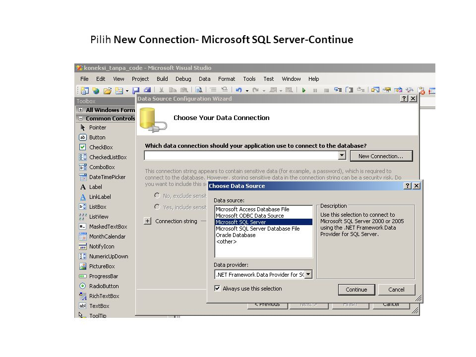 Pilih New Connection- Microsoft SQL Server-Continue
