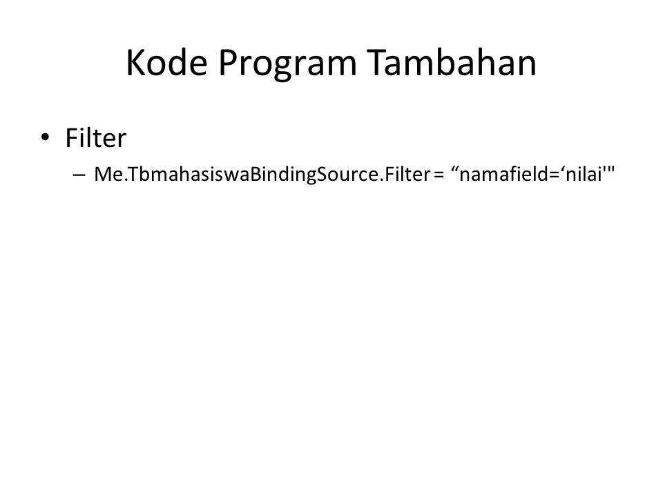 Kode Program Tambahan Filter