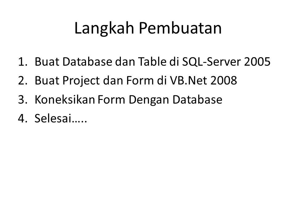 Langkah Pembuatan Buat Database dan Table di SQL-Server 2005