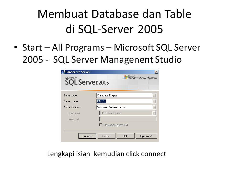 Membuat Database dan Table di SQL-Server 2005