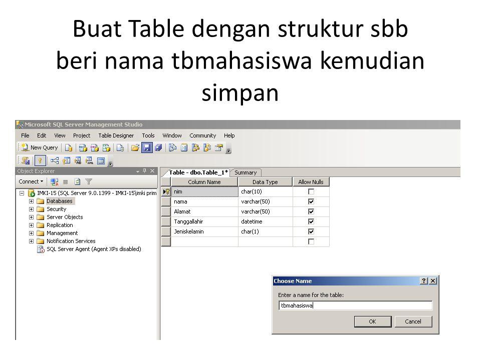Buat Table dengan struktur sbb beri nama tbmahasiswa kemudian simpan