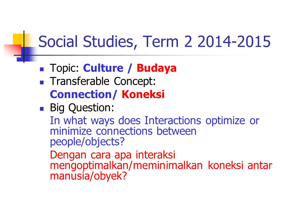 Social Studies, Term 2 2014-2015 Topic: Culture / Budaya