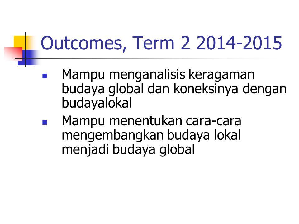 Outcomes, Term 2 2014-2015 Mampu menganalisis keragaman budaya global dan koneksinya dengan budayalokal.