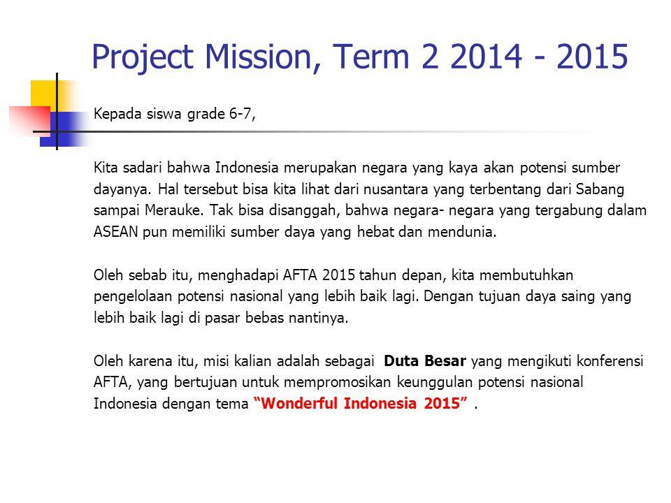 Project Mission, Term 2 2014 - 2015 Kepada siswa grade 6-7,
