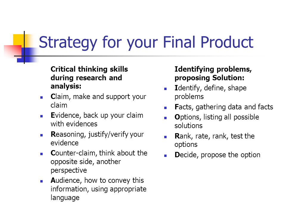 Strategy for your Final Product