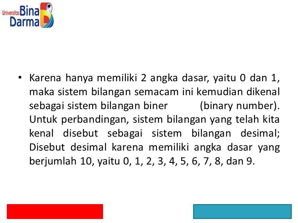 Karena hanya memiliki 2 angka dasar, yaitu 0 dan 1, maka sistem bilangan semacam ini kemudian dikenal sebagai sistem bilangan biner (binary number).