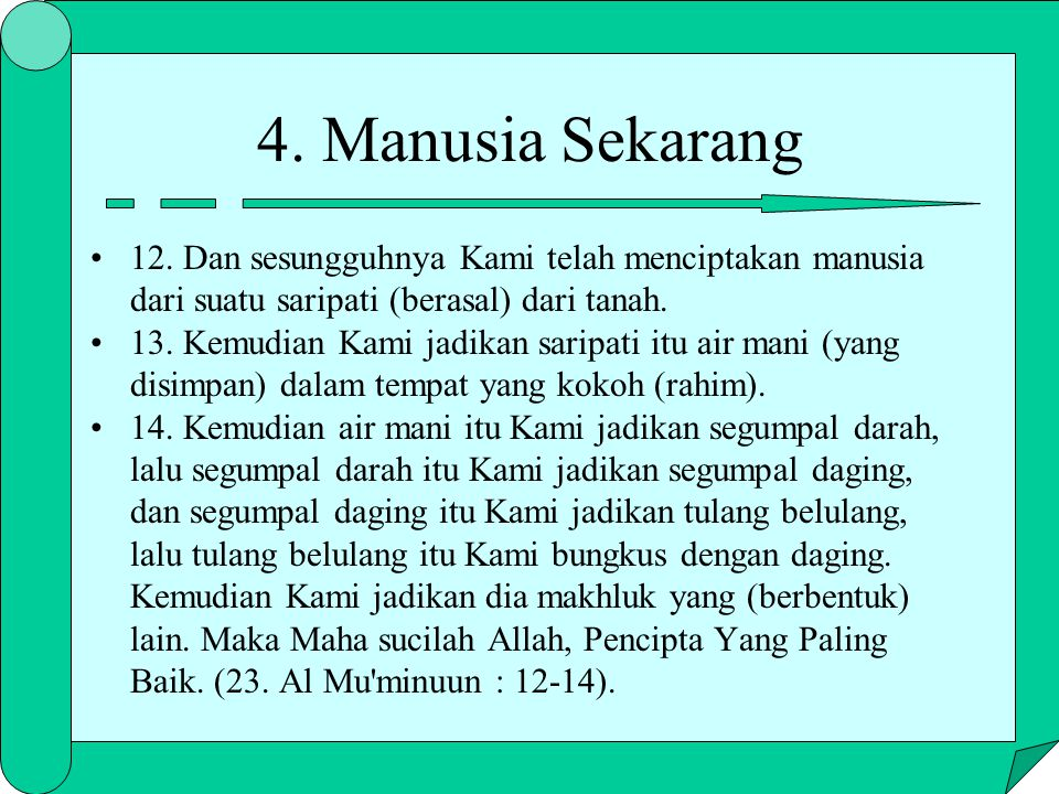 4. Manusia Sekarang 12. Dan sesungguhnya Kami telah menciptakan manusia dari suatu saripati (berasal) dari tanah.