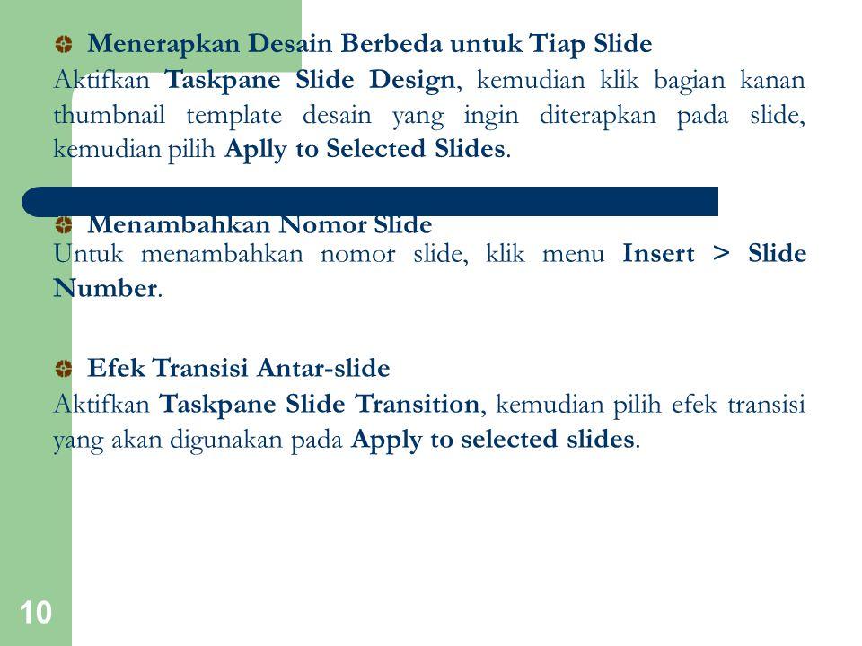 Menerapkan Desain Berbeda untuk Tiap Slide