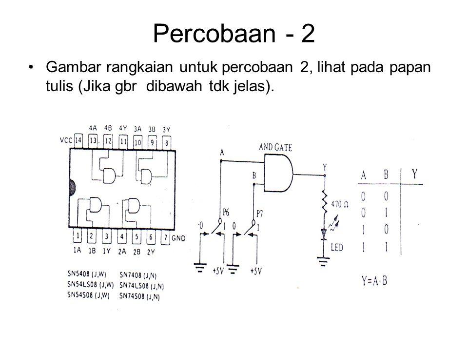 Percobaan - 2 Gambar rangkaian untuk percobaan 2, lihat pada papan tulis (Jika gbr dibawah tdk jelas).