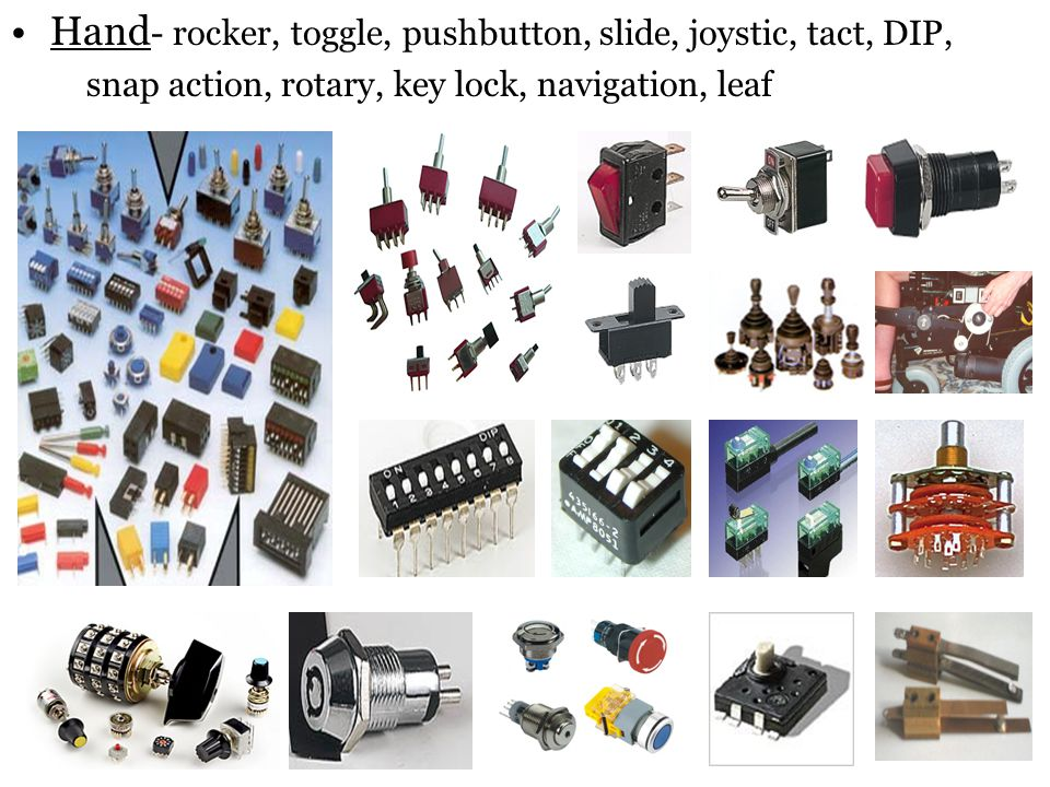 Hand- rocker, toggle, pushbutton, slide, joystic, tact, DIP,