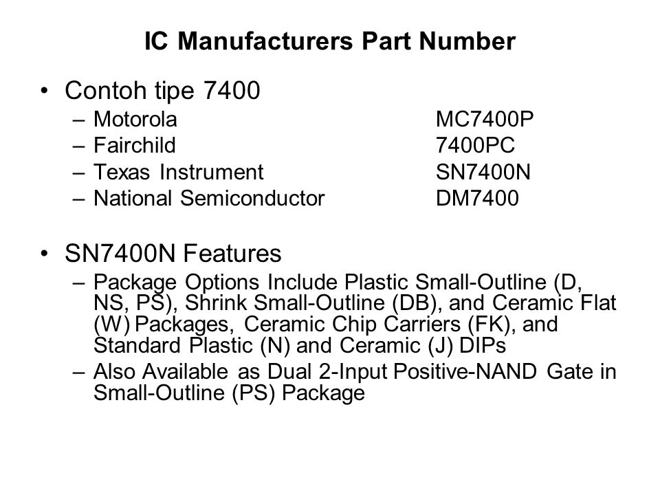 IC Manufacturers Part Number