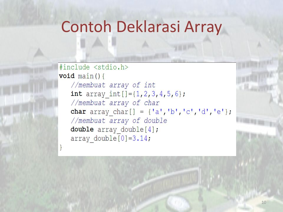 Contoh Deklarasi Array