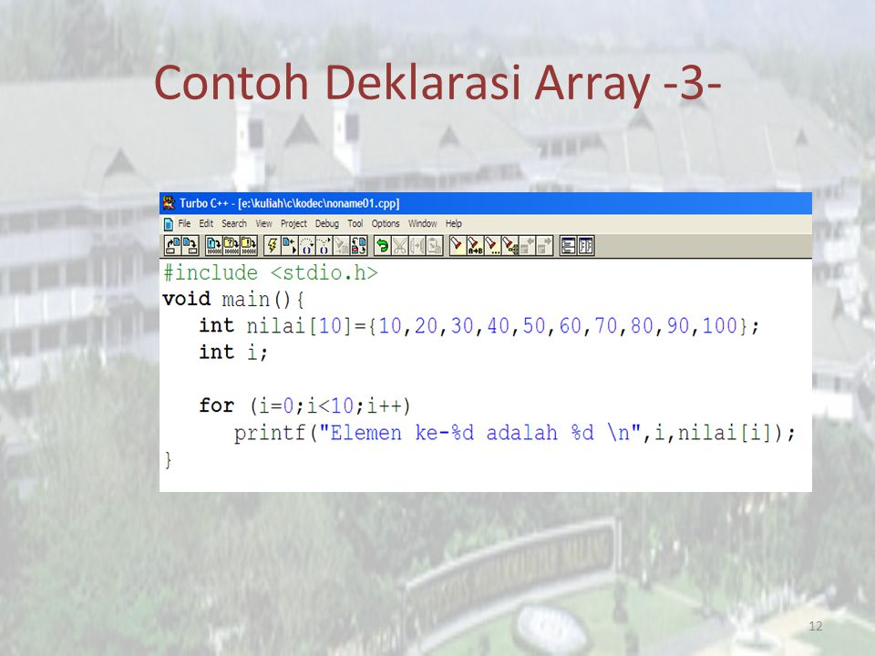 Contoh Deklarasi Array -3-