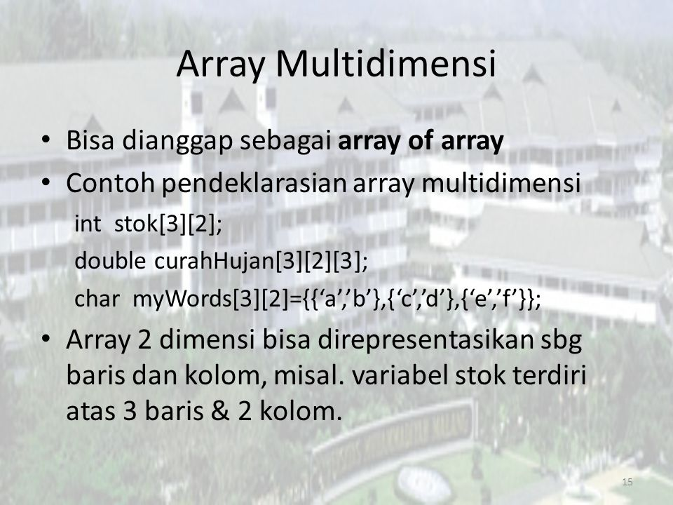 Array Multidimensi Bisa dianggap sebagai array of array